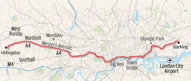 Cycling Crossrail map
