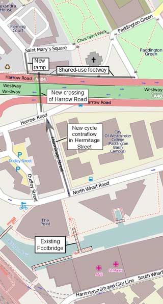 Map of Harrow Road crossing